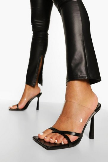 Black Clear Strappy Mule