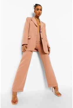 Dusty rose pink Straight Leg Turn Up Trousers