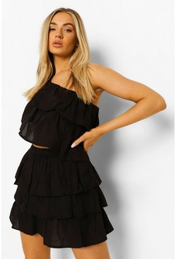 One Shoulder Ruffle Top & Mini, Black negro