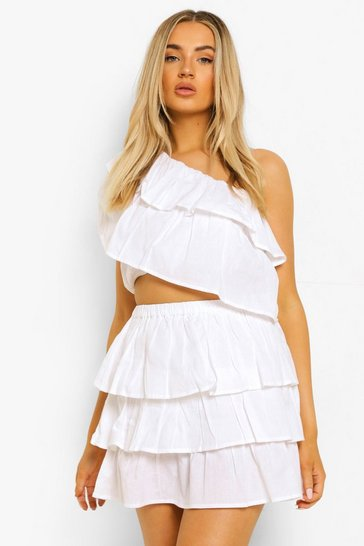 Ivory white One Shoulder Ruffle Top & Mini