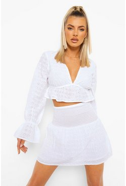 Ivory white Broderie Pep Hem Top & Mini Skirt