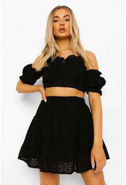 Black Broderie Sweetheart Top & Ruffle Hem Skirt