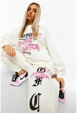 Ecru white Ofcl Limited Edition Print Tracksuit