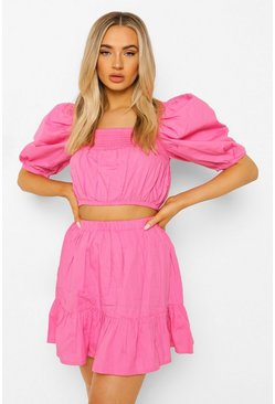 Pink Puff Sleeve Top & Drop Hem Mini