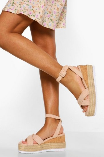 Nude Padded Crossover Wedge