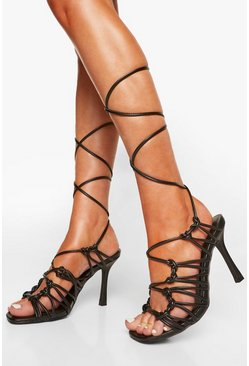 Black Strappy Caged Wrap Up Sandal