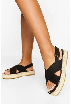 Black Cross Strap Espadrille Flatform Sandals