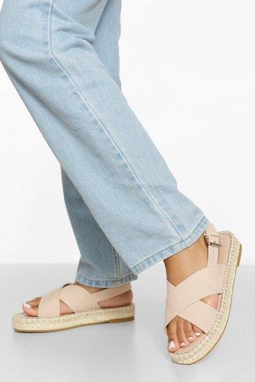 Nude Cross Strap Espadrille Flatform Sandals