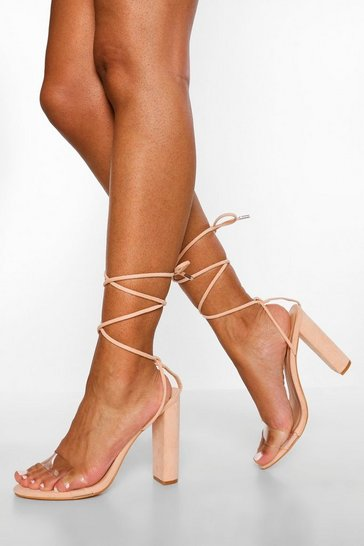 Nude Wide Fit Clear Wrap Up Sandal