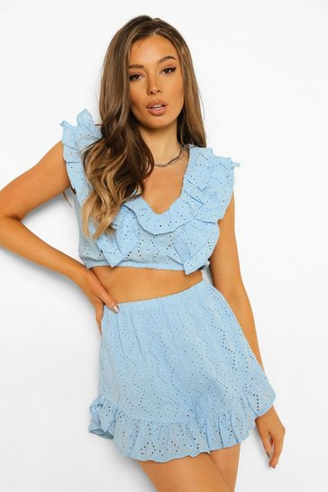 Powder blue blue Broderie Ruffle Top & Shorts