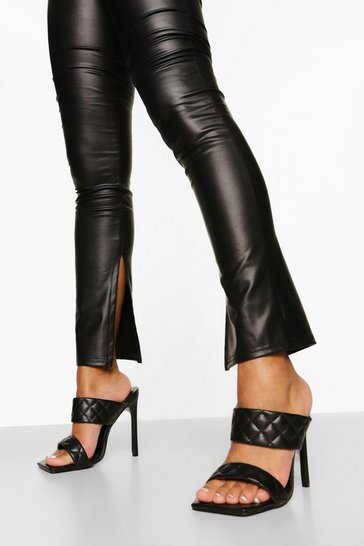 Black Wide Fit Quited Stiletto Mule