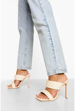 Nude Wide Width Quited Stiletto Mule