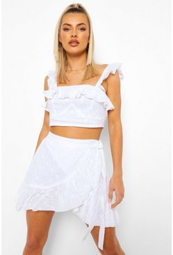 Ivory white Broderie Ruffle Detail Top & Skirt