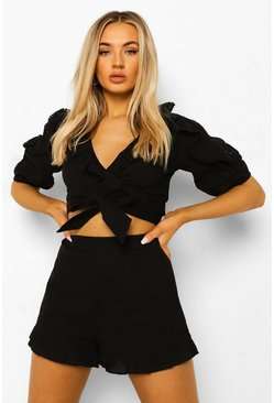 Black Ruffle Detail Top & Shorts
