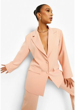 Peach orange Oversized Relaxed Fitted Blazer
