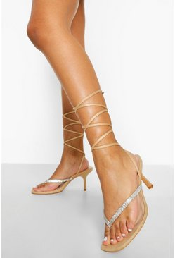 Nude Wide Fit Diamante Toe Post Sandal