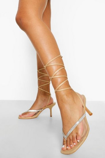 Nude Wide Fit Diamante Toe Post Sandal