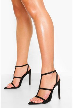 Black T- Bar Pointed Toe Sandal