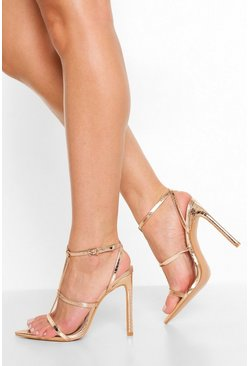 Rose gold metallic T- Bar Pointed Toe Sandal