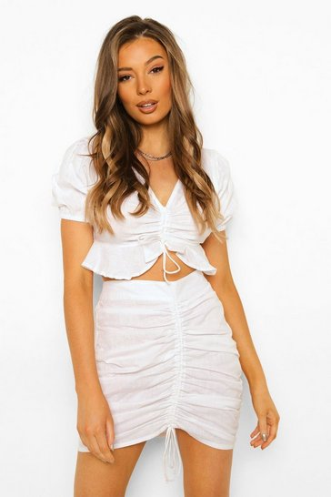 Ivory white Ruched Front Top & Mini