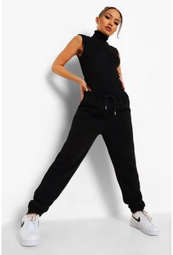 Black Ribbed Sleeveless Bodysuit & Jogger Set
