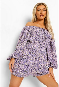 Purple Floral Off The Shoulder Utility Romper