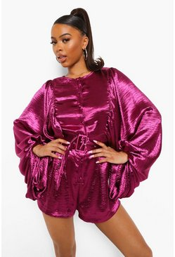 Berry red Satin Extreme Balloon Sleeve Belted Playsuit