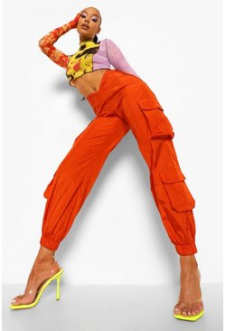 Orange Woven Curved Waist Utility Trouser