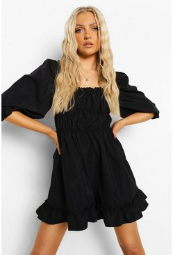 Black Puff Sleeve Rouched Playsuit