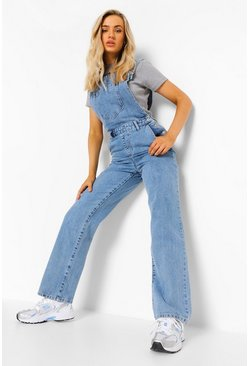 Mid blue blue Washed Straight Leg Dungaree