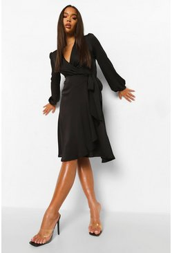 Black Wrap Over Ruffle Hem Belted Midi Dress