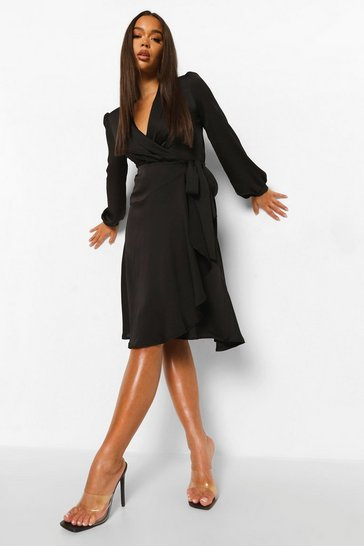 Black Wrap Over Ruffle Hem Belted Midi Dress