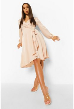 Champagne beige Wrap Over Ruffle Hem Belted Midi Dress