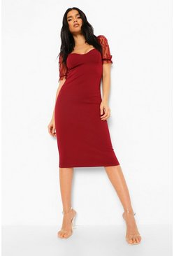 Berry red Polka Dot Mesh Sleeve Midi Dress