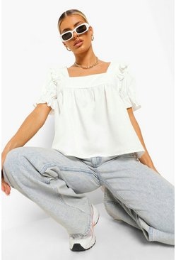 Ivory white Woven Ruffle Square Neck Smock Top