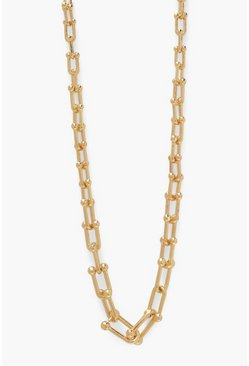 Gold metallic Chunky Lock Chain Necklace