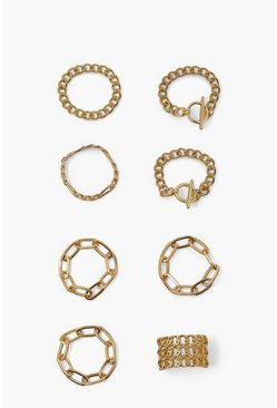Gold metallic Chain Ring Pack