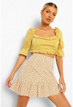 Yellow Woven Ruffle Puff Sleeve Crop Top
