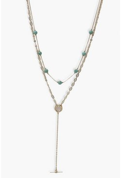 Aqua Stone Toggle Necklace , Gold Металлик