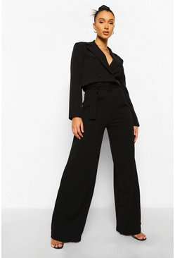 Black Self Fabric Belted Wide Leg Trousers