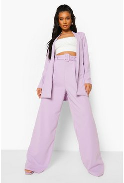 Lilac purple Self Fabric Belted Wide Leg Trousers