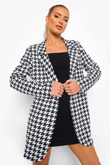 Black Dogtooth Check Blazer & Plain Cami Mini Dress