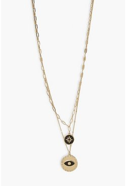 Gold metallic Evil Eye And Mystic Star Layered Necklace