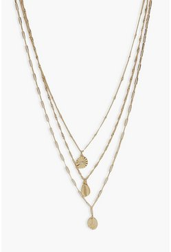 Gold metallic Shell Layered Necklace