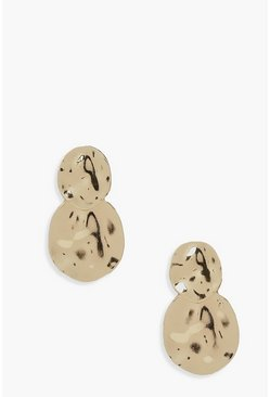 Double Disk Textured Earrings , Gold metálicos