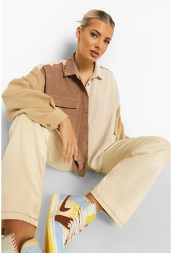 Chocolate brown Oversized Colour Block Cord Shirt