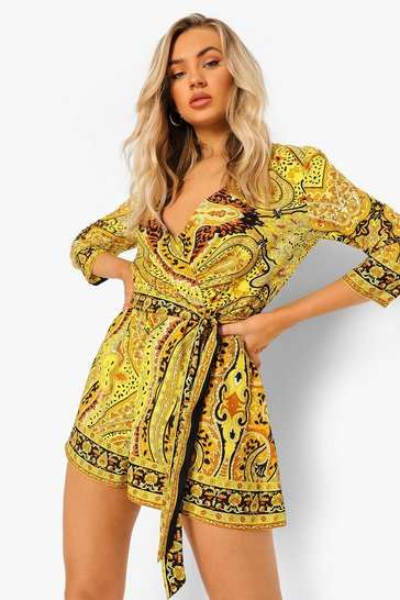 Gold metallic Scarf Print Wrap Front Belted Playsuit