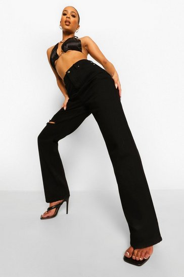 Black Knee Rip Boyfriend Jeans