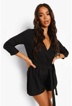 Black Wrap Front Belted Playsuit
