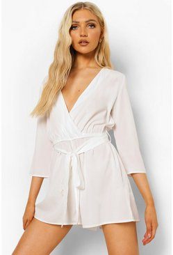 Ecru white Wrap Front Belted Playsuit